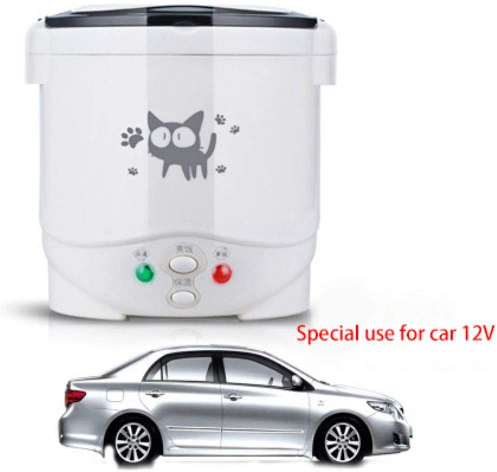 Sizet 1.0L Mini Rice Cooker for Cars and Trucks, Travel Rice Cooker 12V White, Portable Travel Steamer Small Suitable for 1-2 People, Cooking, Heating, Keeping Warm