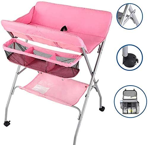 JN Baby Changing Table Pink Nursery Changing Table for Infants/Babies, Foldable Newborn Care Station Dressing Tables with Safety Strap Baby Crib