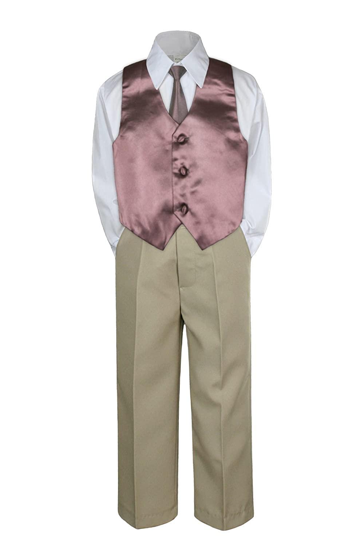 4pc Formal Baby Toddler Boys Brown Vest Necktie Khaki Pants Suits S-7 (XL:(18-24 months))