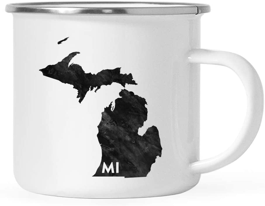 Andaz Press 11oz. US State Stainless Steel Campfire Coffee Mug Gift, Modern Black Grunge Abbreviation, Michigan, 1-Pack, Metal Enamel Camping Camp Cup for Him Her Christmas Hostess Long Distance