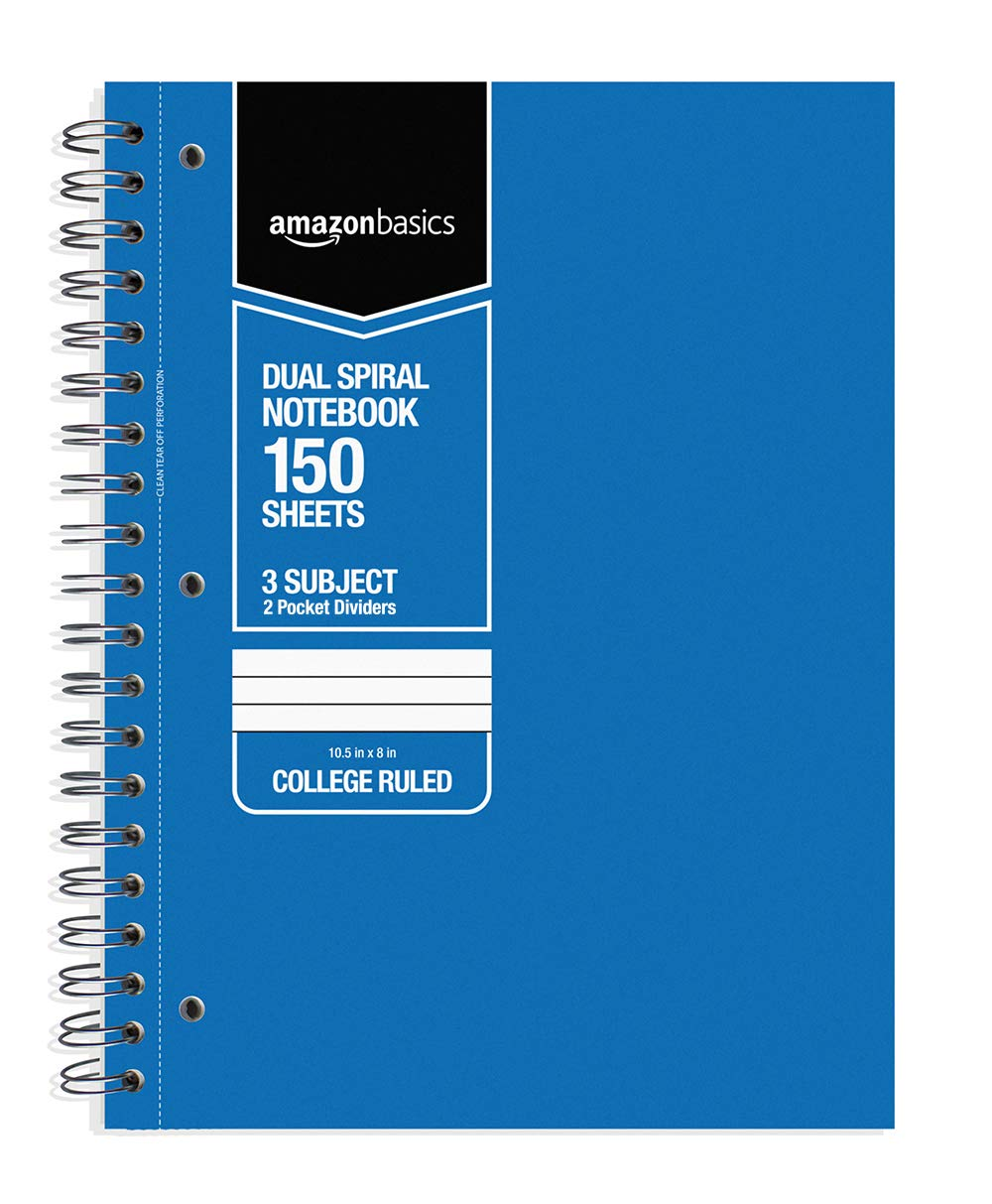 DHgateBasics College Ruled Wirebound 3-Subject 150-Sheet Notebook with Pocket Divider - Pack of 6, 10.5 x 8 Inch, Multi-Color