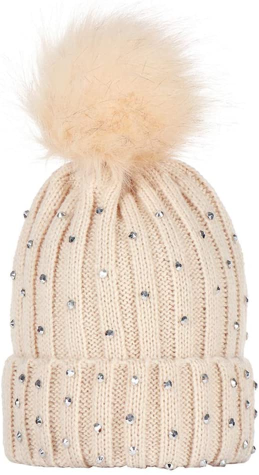 WLG Kids Hat Knitted Hemming Hat Ribbed Rhinestone Embellishment Fluffy Pompom Ball Cuffed Crotchet Beanie Cap Solid Color Winter Children
