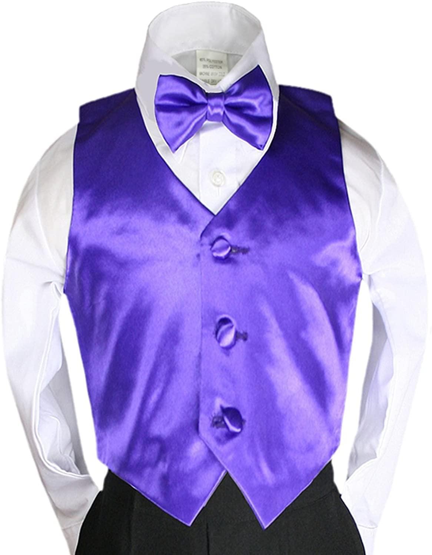 2pc Purple Bow Tie Vest Set Boy Wedding Party Graduation Formal Suit Sm-20
