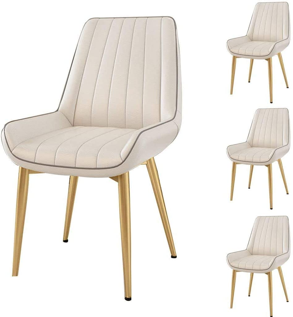 HOMRanger 4 Piece Modern Simple Dining Chairs   Soft PU Leather Backrest&Cushion Accent Leisure Side Chairs   Household Living Room Kitchen Seat Chair   White