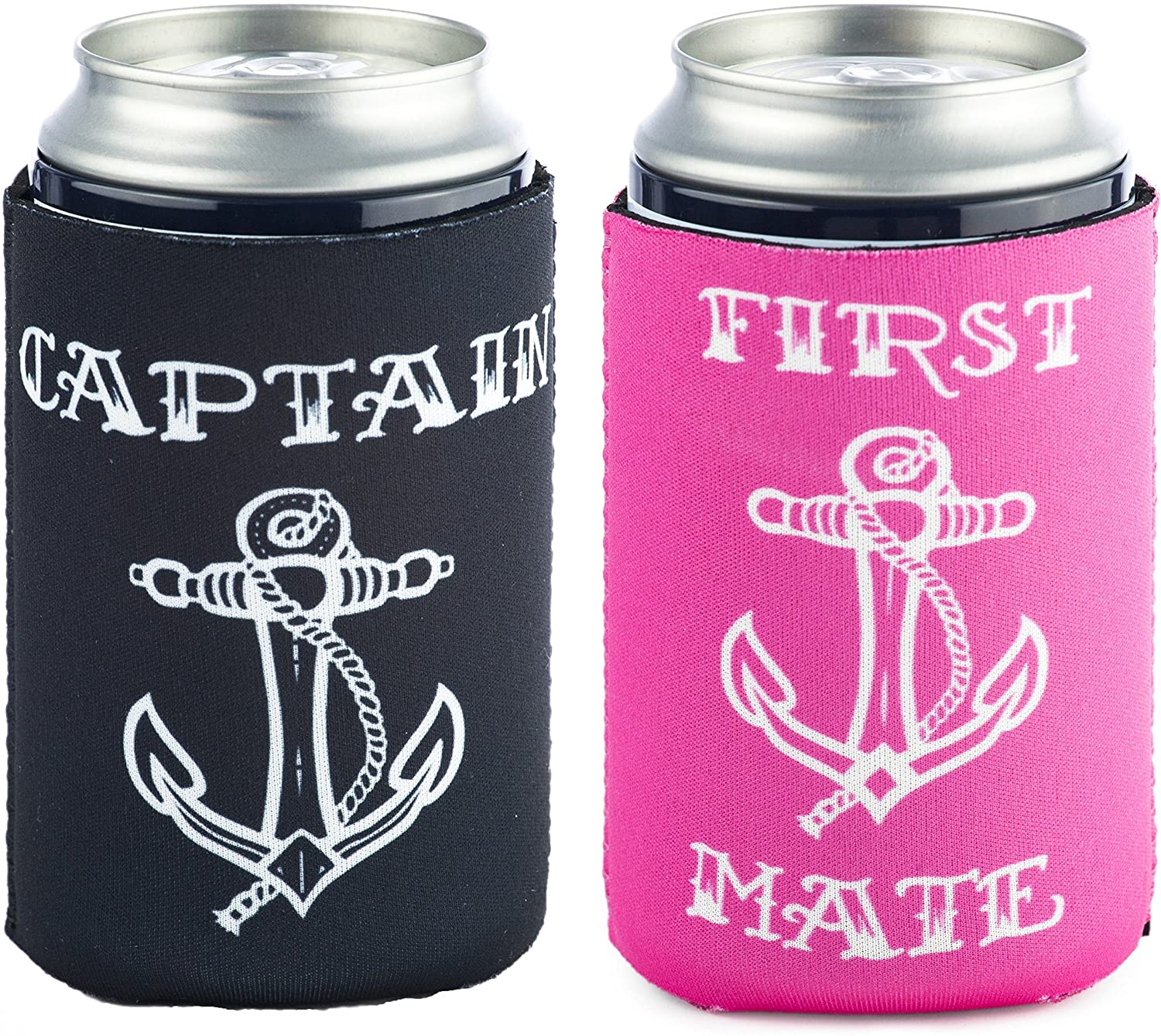 Funny Guy Mugs 2 PACK: Captain/First Mate Collapsible Neoprene Can Coolies - Ship's Wheel on Bottom