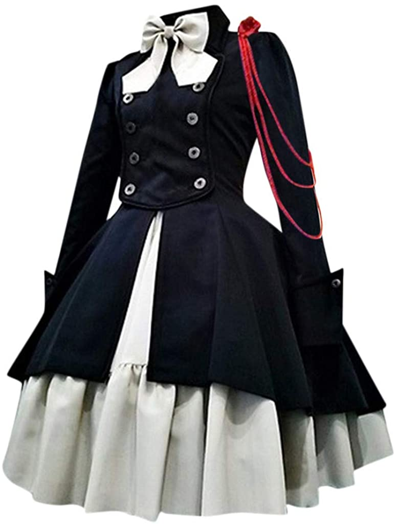 Sayhi Womens Renaissance Medieval Costume Dress Cosplay Retro Gown Gothic Court Square Collar Patchwork Princess Dress