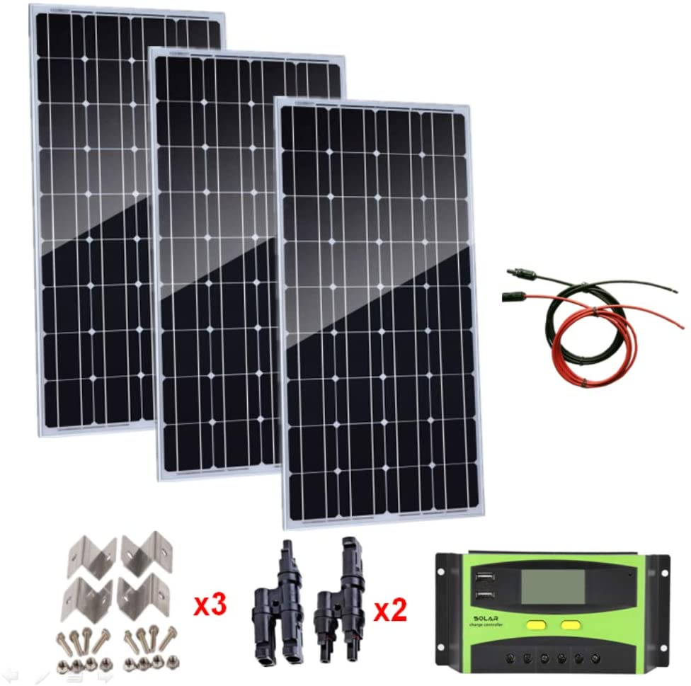 AUECOOR 300 Watts monocystalline Solar Panel Kit + 30A LCD Solar Panel Controller + 5M Solar Cable + Y Connectors +mounting Brackets for RV, Camping, Caravans, Boat, 12V/24V Battery Charging