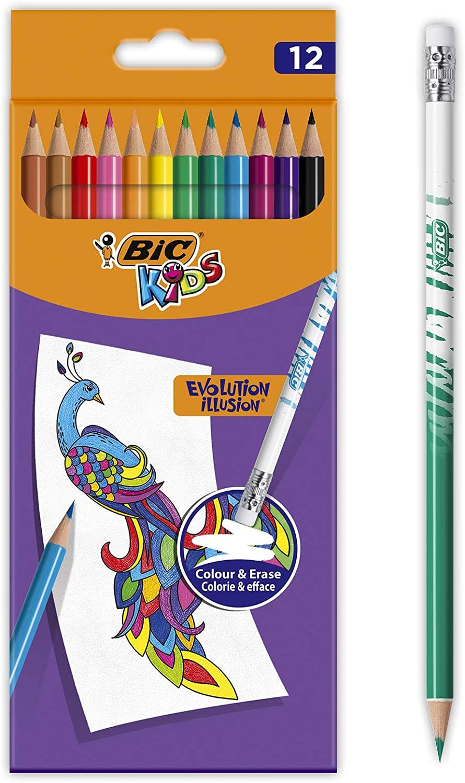 BIC Kids Evolution Illusion Erasable Coloured Pencils - Assorted Colours, Pack of 12