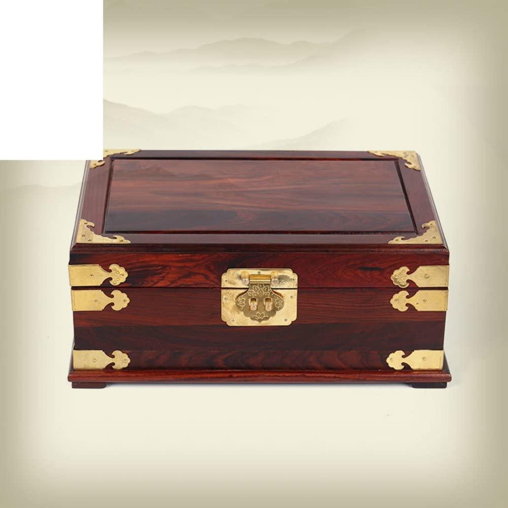WODESHIJIE Red Rosewood Jewelry Box/Retro Dresser/Mahogany Jewelry Box/Wedding Gift/Redwood Crafts-A