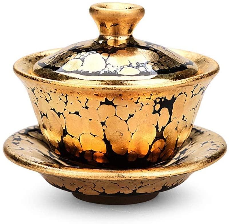 MADONG Calendula oil droplets gold gold tureen with God kung fu tea tea cup tea bowl tea oil droplets King teacup (Color : Golden oil drop cover)