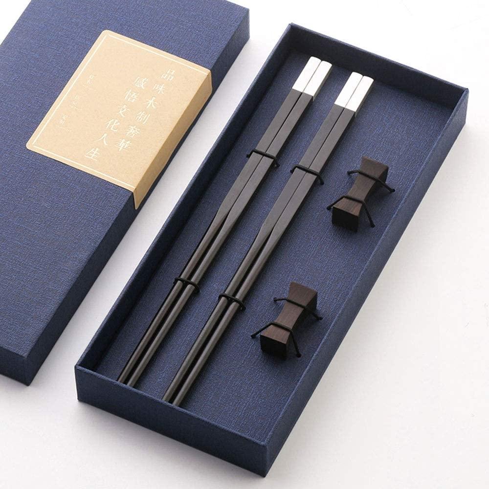 Xihouxian Chopsticks - Purple Sandalwood/Copper, Chinese-Style High-end Gift Chopsticks, A Set of High-end Tableware, Non-Slip/Mildew (Length: 25cm) Chopsticks