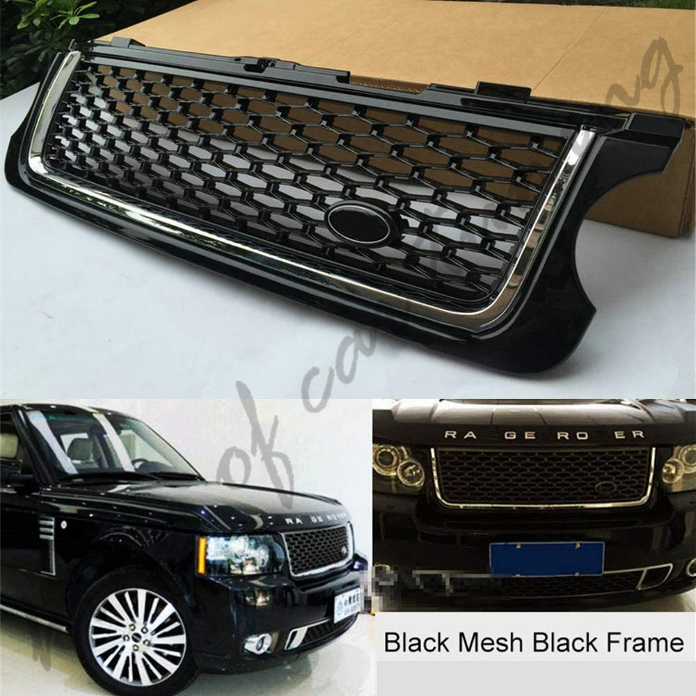 king of car tuning Black Front Grille Vent Mesh Cover Grill Bar Fits for Land Rover Range Rover 2010-2012