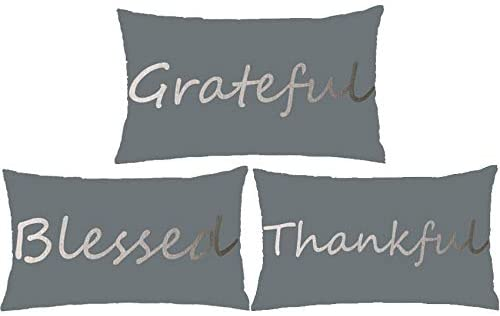 WePurchase Set Of 3 Thanksgiving Day Word Grateful Blessed Thankful Blue Grey Background Decoration Cotton Linen Decorative Home Sofa Living Room Throw Pillow Case Cushion Cover Rectangle 12x20 Inches