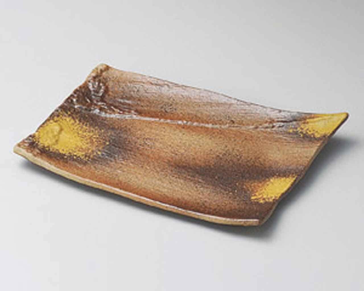 Bizen Shibuki 9.2inch Set of 5 Long Plates Brown Ceramic Made in Japan