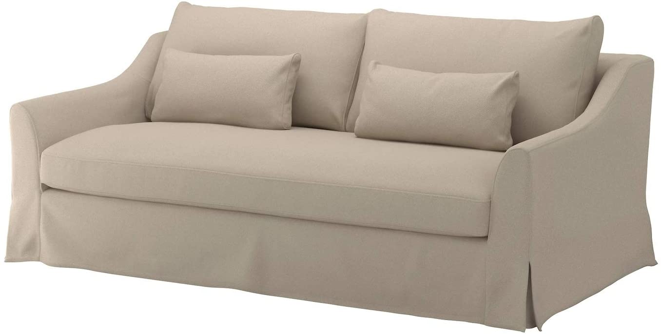 Heavy Cotton Farlov Sofa (Not Loveseat!) Replacement Cover Made for IKEA Farlove Slipcover Only! (Polyester Flax Beige)