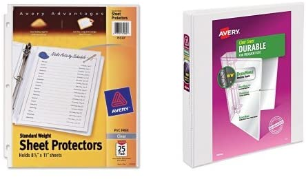 Avery Standard Weight Sheet Protectors, Pack of 25 Sheet Protectors (75530) and Avery Durable View Binder, 1