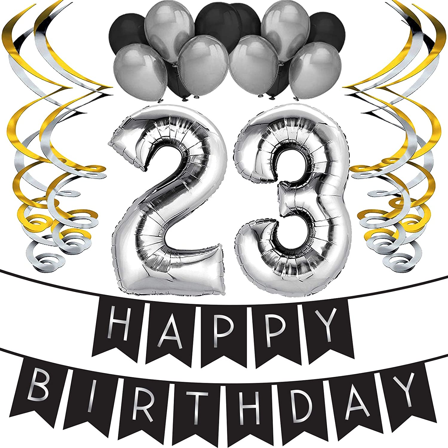 23rd Birthday Party Pack - Black & Silver Happy Birthday Bunting, Balloon, and Swirls Pack- Birthday Decorations - 23rd Birthday Party Supplies