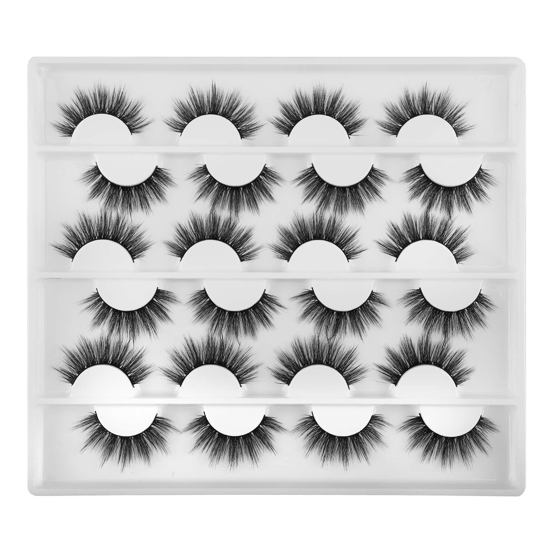 12 Pairs Fluffy Eyelashes, FANXITON Natural False Eyelashes 3D Volume Faux Mink Lashes