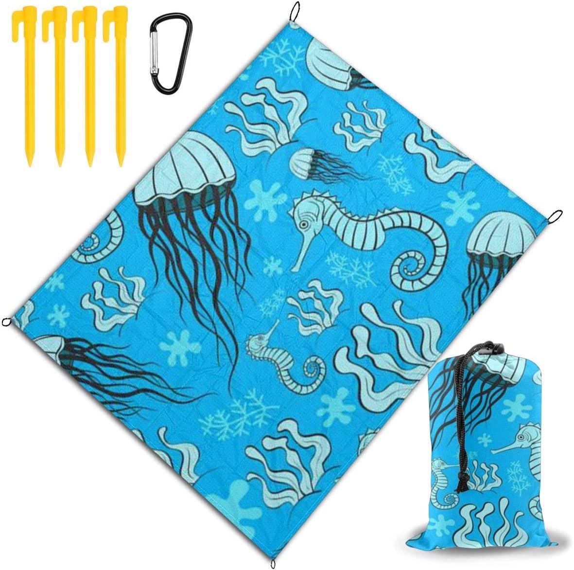 OESGAT Beach Blanket Waterproof,Jellyfish Sea Horse Printing Travel Outdoor Picnic Mat Durable Sand Beach Mat,67
