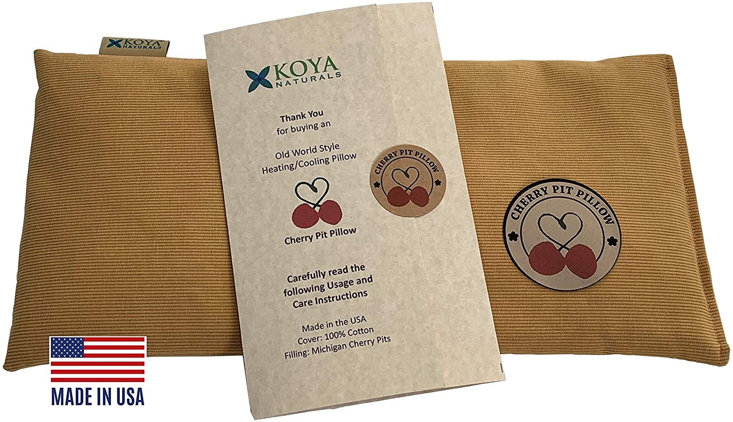 KOYA Naturals Heating Pad Microwavable - Cherry Pit/Stone/Seed Pillow Heat Pack for Neck, Muscles, Joints, Stomach Pain, Menstrual Cramps - Warm Compress Neck Wrap - Moist Heat Therapy (Amber)