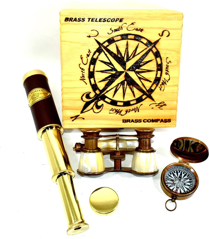 Handheld Nautical Pirate Spyglass Antique Brass Leather Telescope
