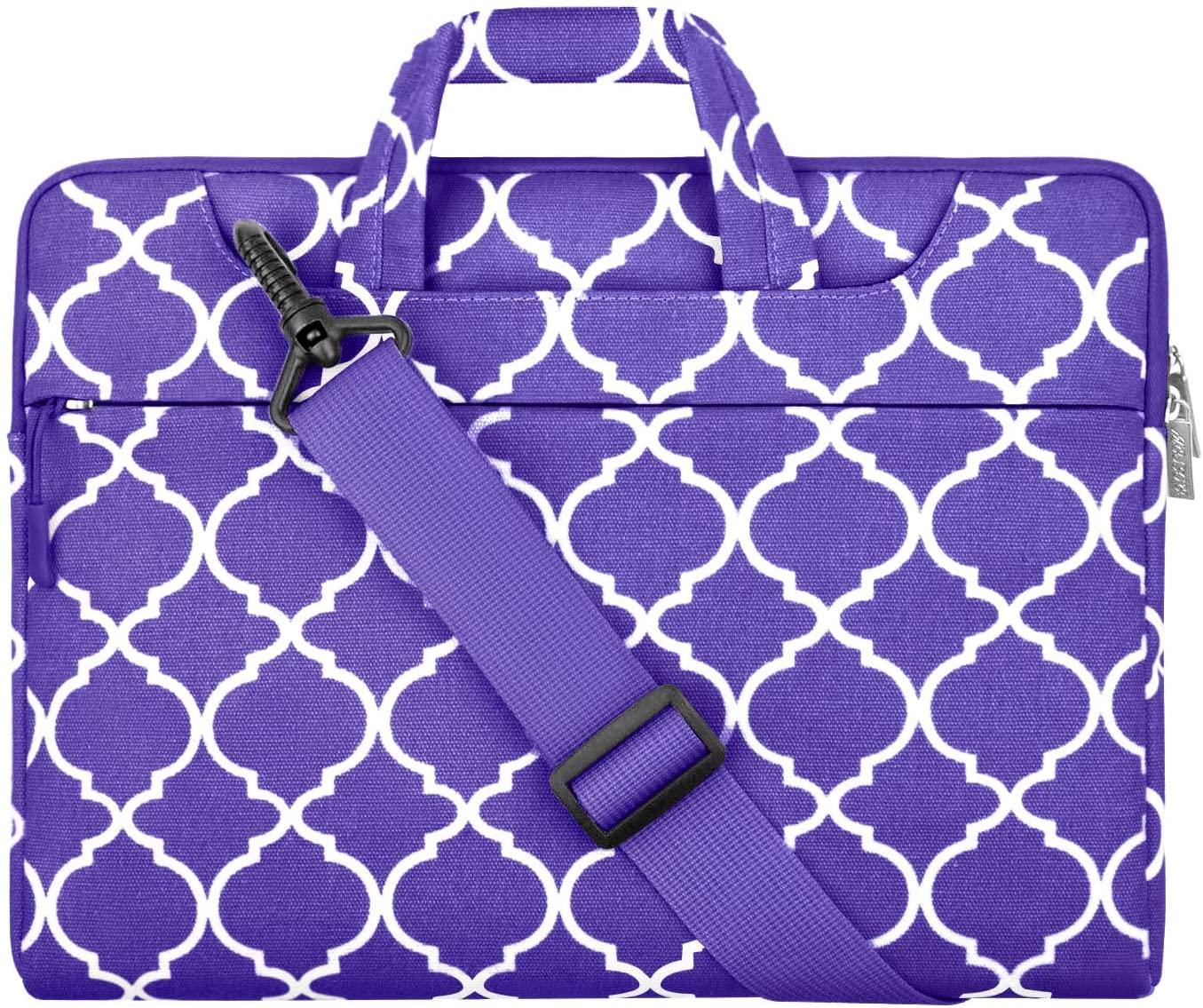 MOSISO Laptop Shoulder Bag Compatible with 13-13.3 inch MacBook Pro, MacBook Air, Notebook Computer, Canvas Quatrefoil Pattern Briefcase Sleeve Case, Ultra Violet