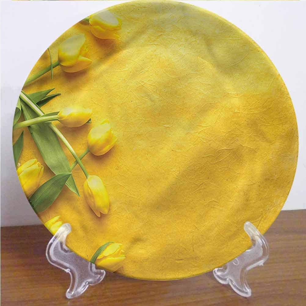 Channing Southey 8 Inch Yellow Ceramic Decorative Plate Tulip Flowers Garden Tableware Plate Decor Accessory for Pasta, Salad,Party Kitchen Home Decor