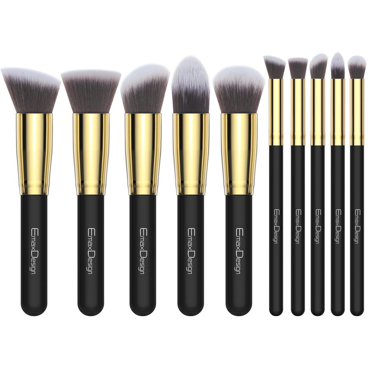 EmaxDesign Makeup Brushes 10 Pieces Professional Makeup Brush Set Synthetic Foundation Blending Concealer Eye Face Liquid Powder Cream Cosmetics Brushes Set (Golden Black)
