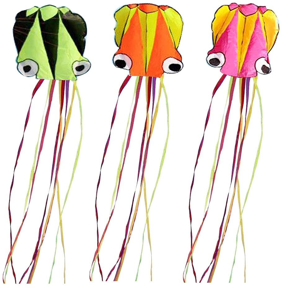 Set of 3 Large 157.5 High Cartoon Big Round Eyes Octopus Kites with Colorful Ribbon and Kite Board with 98.4 Foot String for Kids Toy Enjoy Parent-Child Time Beach Park Outdoor