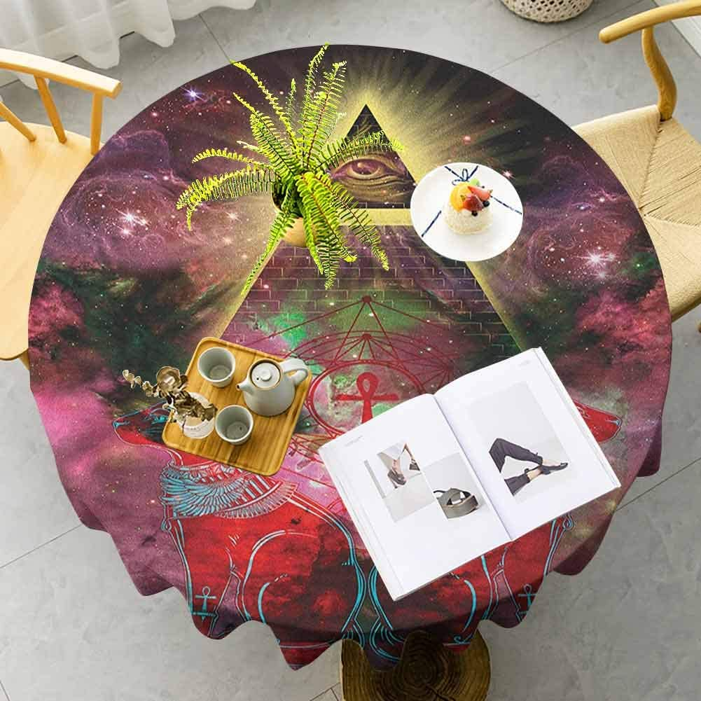 DRAGON VINES Table Cover Cloth Sacred Ancient Egyptian Pyramids with Occult Sacred Eye and Bastet Artwork Plum and Red Table Picnic Decorations Diameter 35