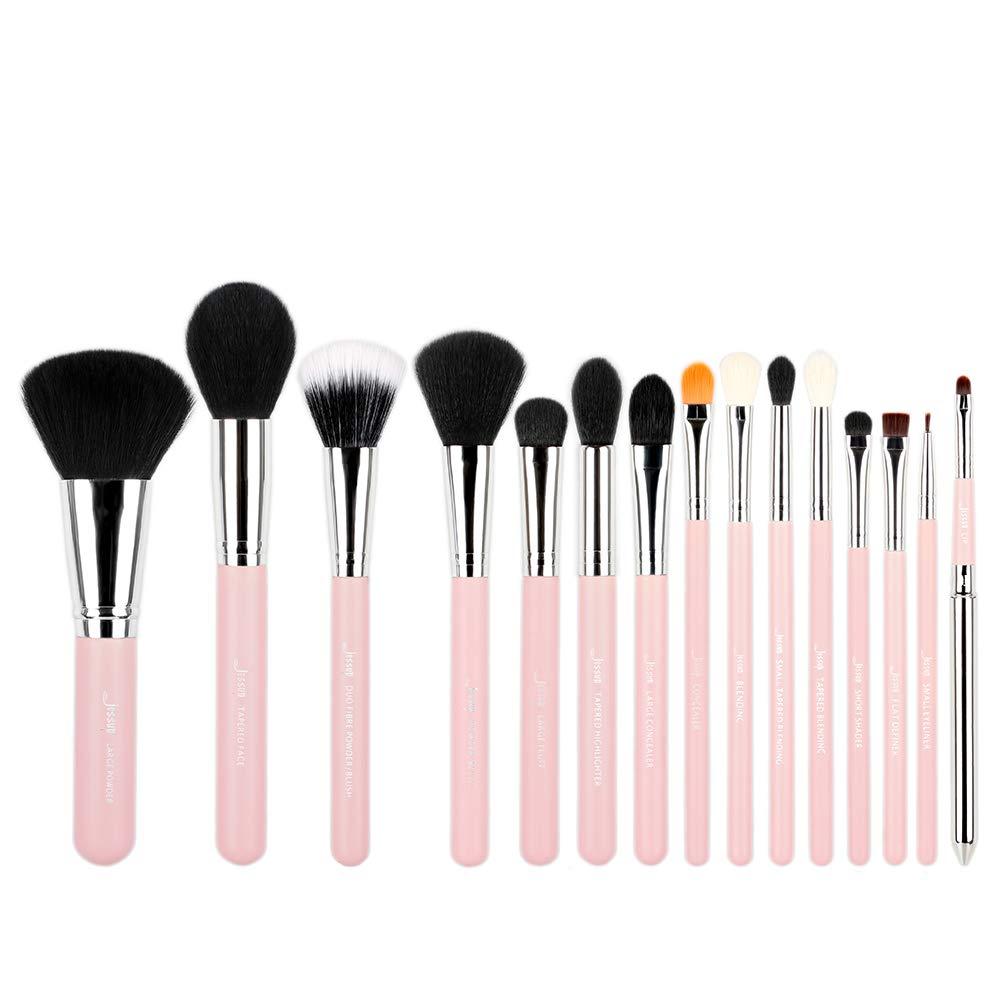 Jessup 15pcs Professional Makeup Brushes Beauty Cosmetics Powder Foundation Eyeshadow Eyeliner Blending Lip Make Up Brush Tools Pink/Silver T094