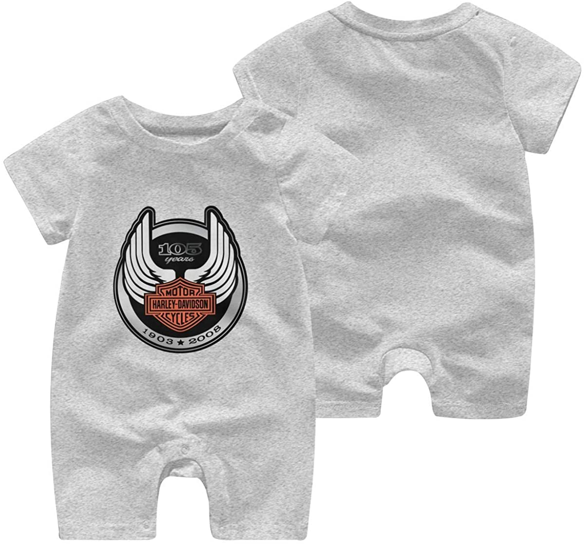 Harley Davidson One Piece Outfits Baby Solid Color Rompers with Button Kids Short Sleeve Playsuit Jumpsuits Cotton Clothing 18 Months Gray