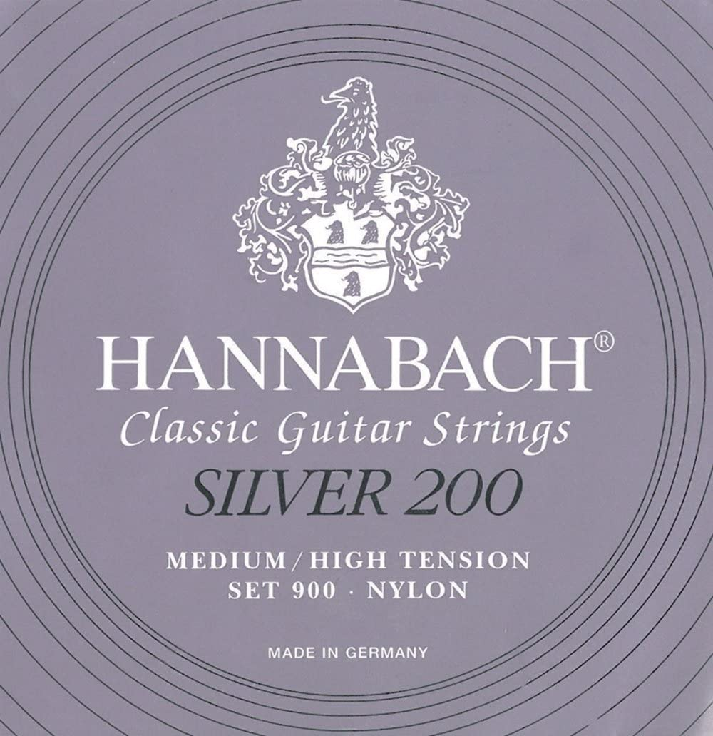 Hannabach 652659 - 10 complete sets strings for classic guitar Series 900P Medium/High tension carbon ProfiPack Silver 200 - 9007PCAR
