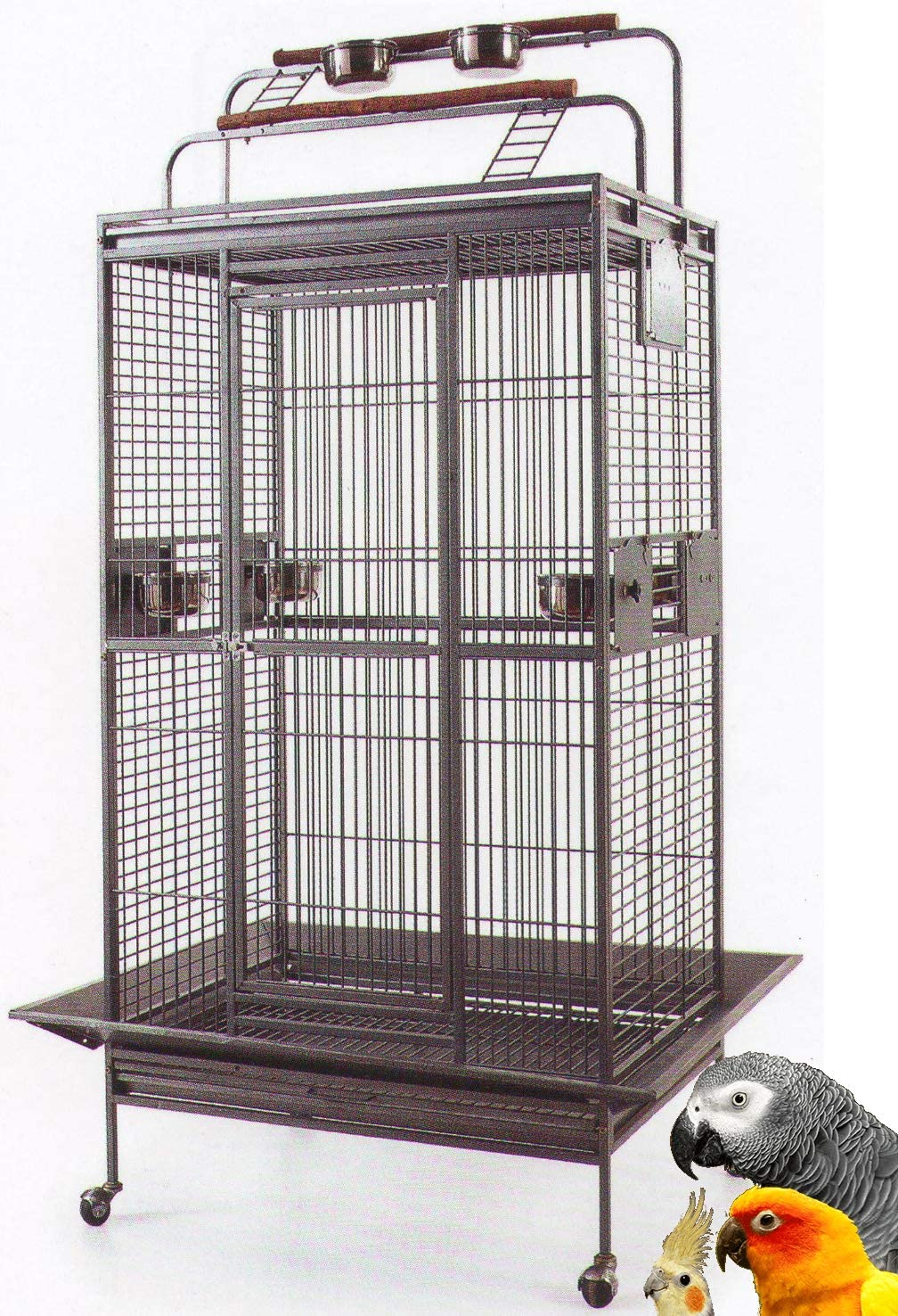 Mcage Large Wrought Iron Bird Parrot Cage Double Ladders Open/Close Play Top, Include Seed Guard and Play Top