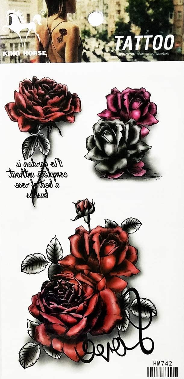 PARITA Tattoos Beautiful Red Rose Peony Bouquet Flowers Cartoon Waterproof Tattoo Stickers Designs Body Art Arm Leg Fake Removable for Men Women Teens (1 Sheet.) (10)