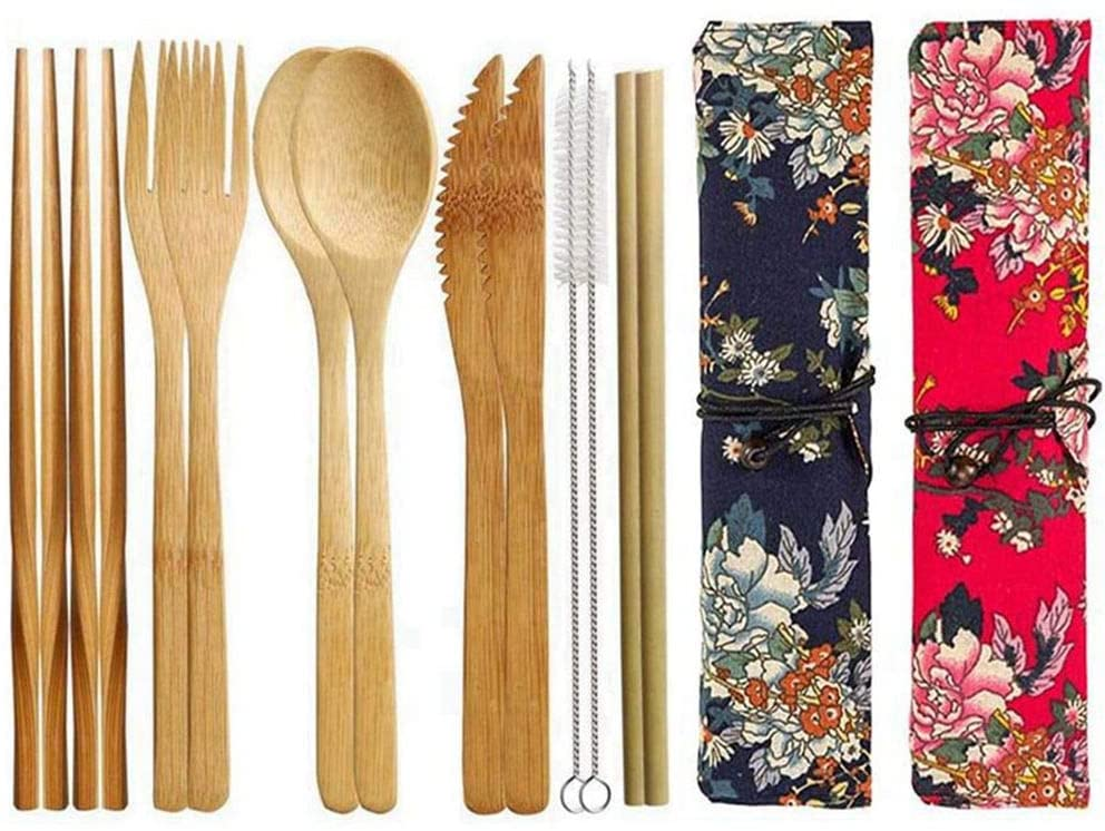 2 Pack Bamboo Flatware Set, Bamboo Utensils Reusable Travel Cutlery Set with Case Including Knife Fork Spoon Chopsticks and Straws for Camping School (Red and Black)