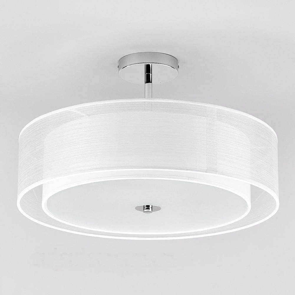 BOSSLV Semi Flush Ceiling Light White Fabric Lamp Chandelier for Parlor Foyer Hall Study Room Diam 50Cm Led-Bulb 3 5 w Warm White