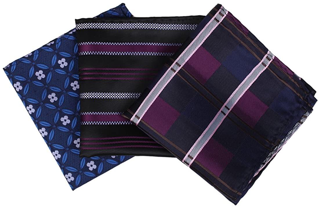 Dan Smith Men's Fashion Multicolored Patterned Handkerchief Set Microfiber With Free Gift Box