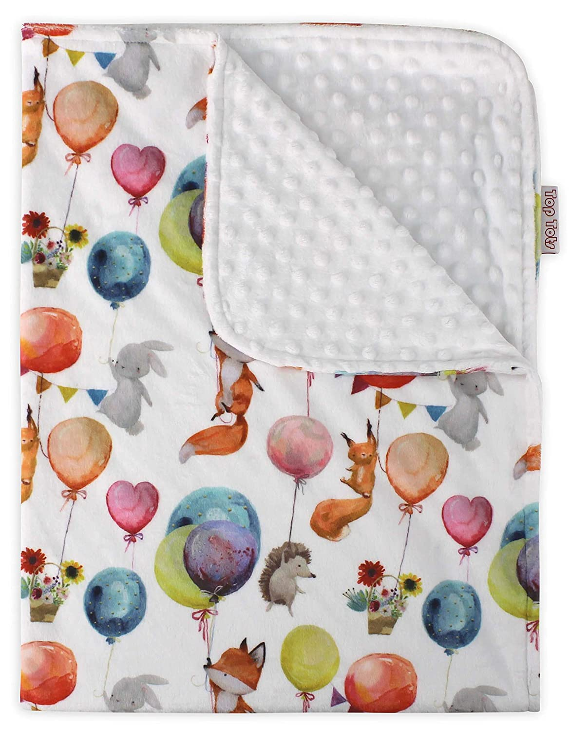 Top Tots Hot Air Balloons Collection, Deluxe Baby Blanket, Animal Birthday Party with White Minky Dot, 40 by 29 Inch