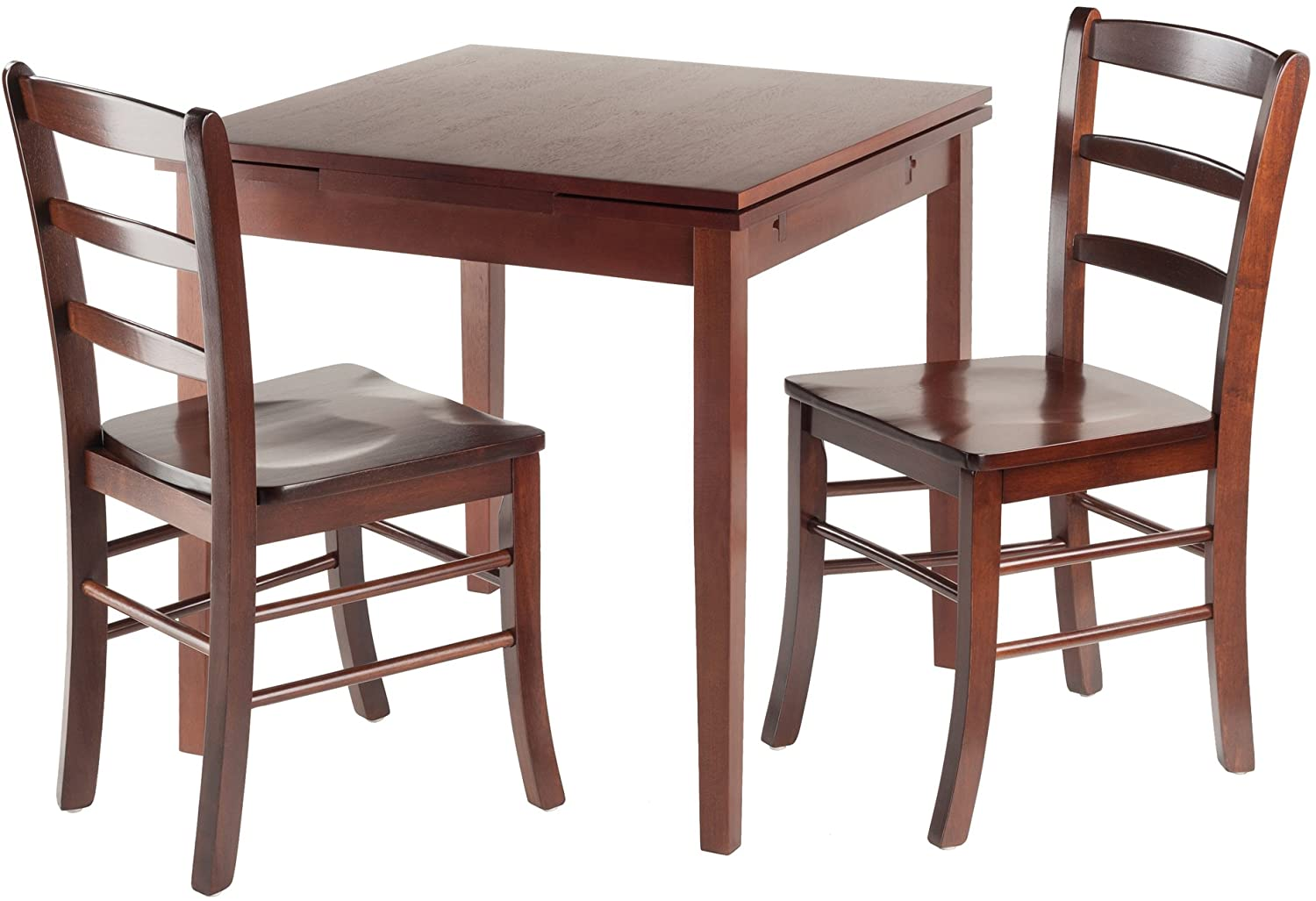 Winsome Wood Pulman 3 Piece Set Extension Table 2 Ladder Back Chairs
