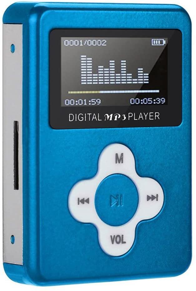 Iuhan USB Mini MP3, USB Mini MP3 Player LCD Screen Support 2/4/8/16GB/32GB Micro SD TF Card (Blue)
