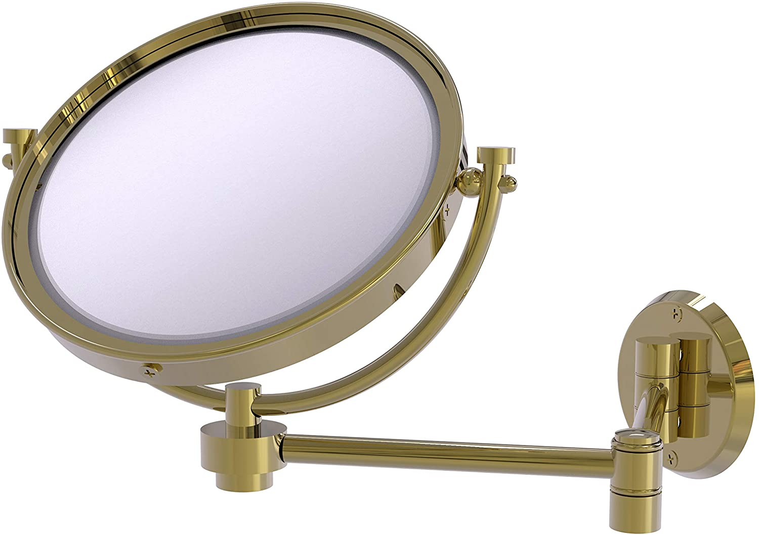 Allied Brass WM-6/4X 8 Inch Wall Mounted Extending 4X Magnification Make-Up Mirror, Unlacquered Brass
