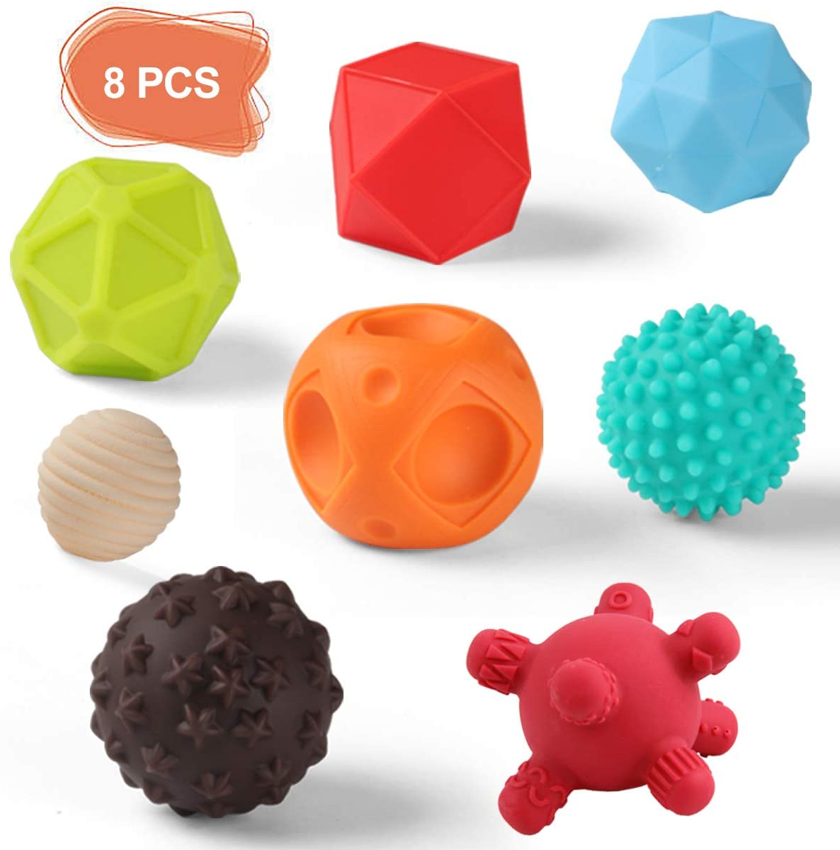 NUOEY Baby Textured Sensory Ball Set Soft Squeeze Massage Balls with Bright Color and Multi Shape,Learning Early Educational Toys for 6+ Months Toddlers Boys and Girls(8PCS)