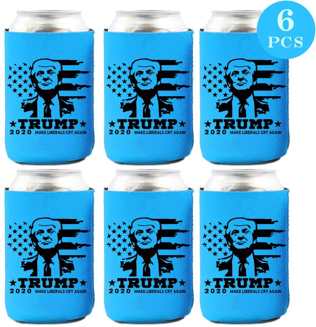 Trump 2020 Can Cooler – Keep America Great Neoprene Beer Can Coozies – Set of 6