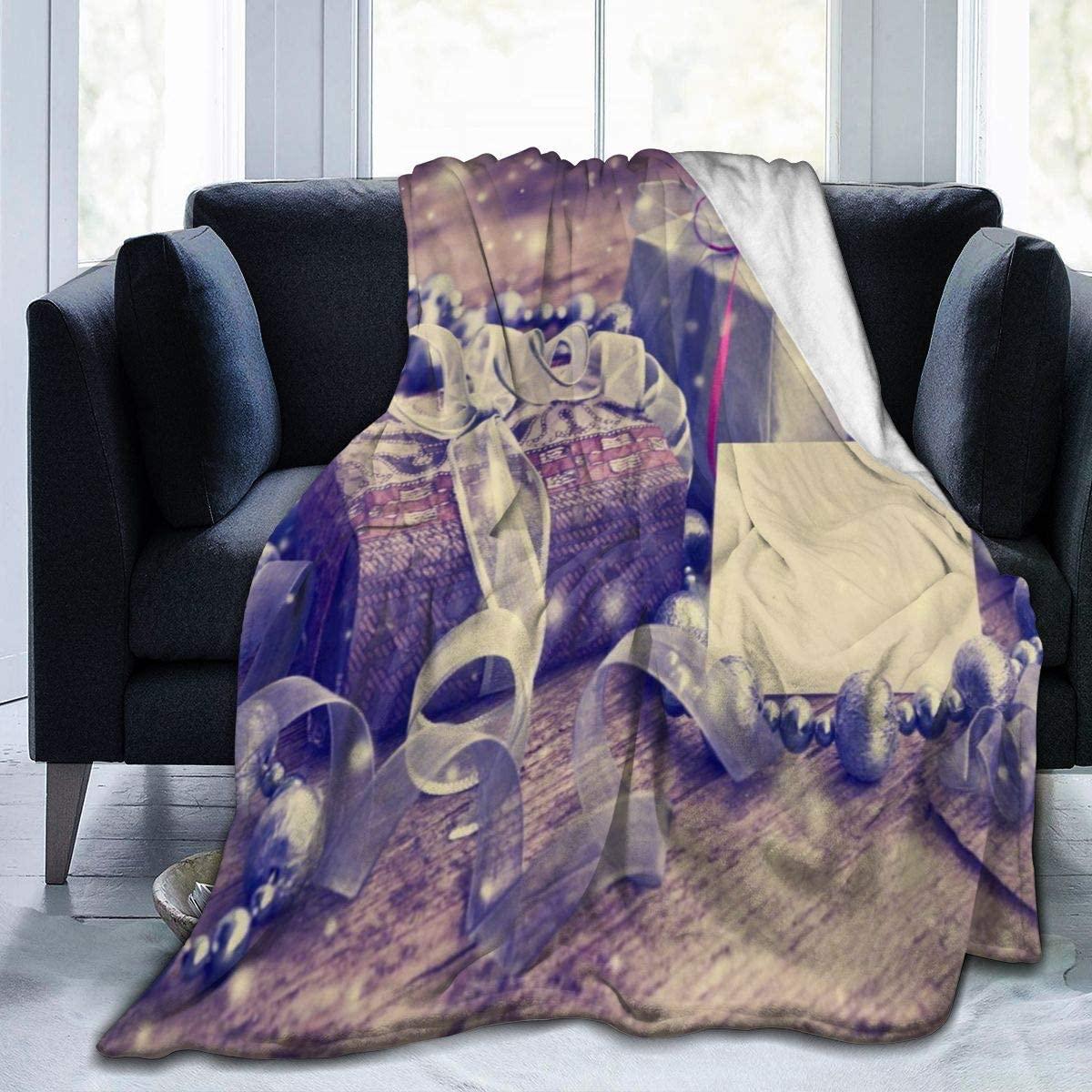 Micro Fleece Plush Soft Baby Blanket Vintage Gift Box Package Christmas Fluffy Warm Toddler Bed/Crib Blanket Lightweight Flannel Daycare Nap Kids Sleeping Tummy Time Throw Blanket Girls Boy Kid/Baby