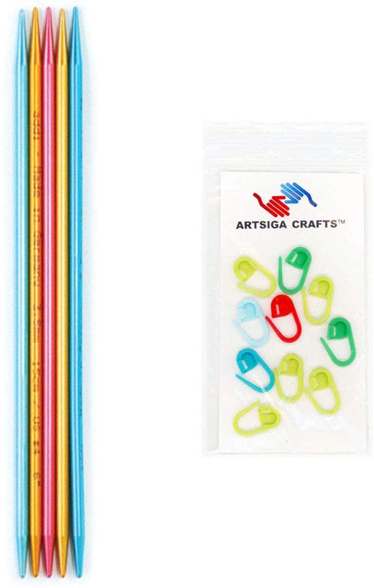 addi Knitting Needles FlipStix Double Pointed Aluminum 6 inch (15cm) (Set of 5) Size US 0 (2.0mm) Bundle with 10 Artsiga Crafts Stitch Markers