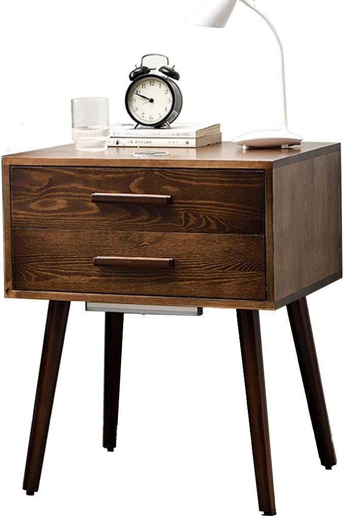 Nordic Style Smart Nightstand, Multifunctional Bedside Table, Solid Wood Cabinet Legs, with Induction Night Light and Wireless Charging