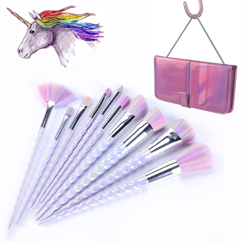 YA MI Unicorn Makeup Brushes Set Fantasy Makeup Tools Foundation Eyeshadow Unicorn Brushes Kit With Case (10Pcs)
