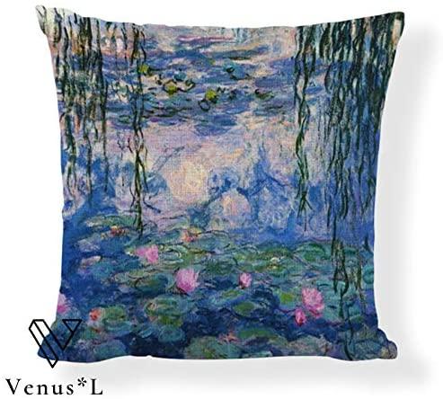 VenusL Decorative Throw Pillow Covers,Monet Water Lilies,Sunset Ocean BoatSpring,Flower Garden,Japanese Footbridge,One-Side Printed,Cotton Linen,18x18 Inch(45x45cm)