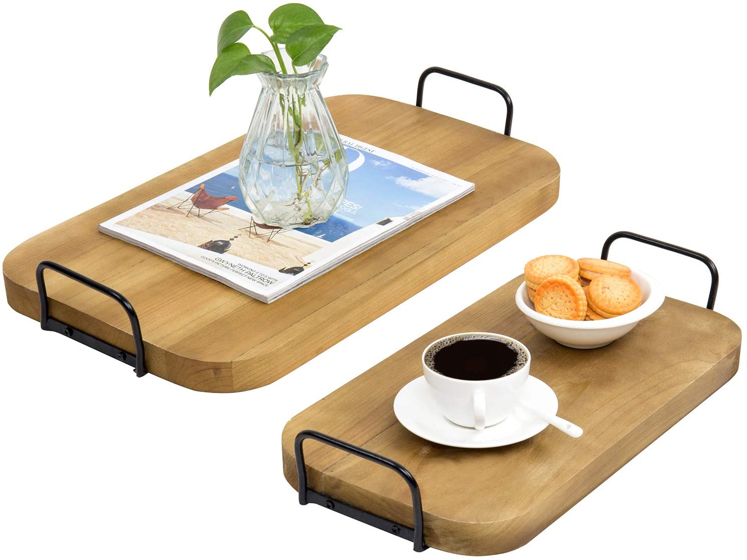 MyGift Vintage Brown Wood Nesting Breakfast Serving Trays with Square Metal Side Handles, Set of 2